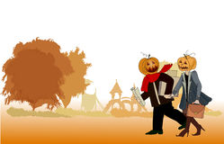 Hallowing background with pumping head office people Royalty Free Stock Photography