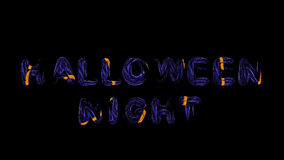 Hallowing night dark blue letters with orange hotspots,  3d rend Royalty Free Stock Photos