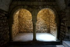 Halls in the ancient building of the former Roman bath. Girona, Catalonia.  royalty free stock photo