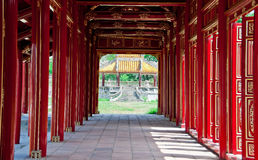 Halls of the Citadel, Hue. Doorways and arches lead to a pagoda in the Royal Citadel of Hue, Vietnam Royalty Free Stock Photo