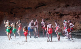HALLS CREEK, WESTERN AUSTRALIA, AUSTRALIA - JULY 13, 2013. Men of the `Karjanarna Jaru` perform a traditional dance depicting an `initiation ceremony` for a Royalty Free Stock Image