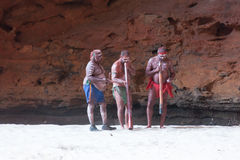 HALLS CREEK, WESTERN AUSTRALIA, AUSTRALIA - JULY 13, 2013. Men of the `Karjanarna Jaru` perform a traditional dance depicting an `initiation ceremony` for a Stock Images