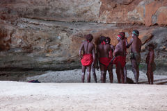 HALLS CREEK, WESTERN AUSTRALIA, AUSTRALIA - JULY 13, 2013. Men of the `Karjanarna Jaru` perform a traditional dance depicting an `initiation ceremony` for a Stock Photo