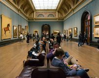 The halls of the National Gallery, London stock images