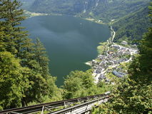 Hallstadt in austria over lake in alps. Royalty Free Stock Photos
