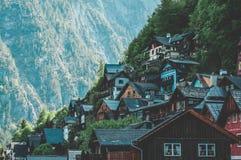 Hallstat村庄,奥地利 库存照片