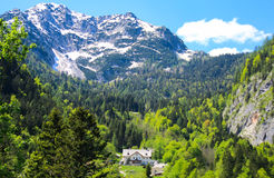 Hallstat - bello villaggio alpino di paradiso in Austria Immagini Stock Libere da Diritti