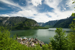 Hallstatt湖和镇风景  库存图片