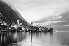 Hallstatt黑白照片  免版税库存照片