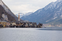 Hallstatt,奥地利湖视图  免版税库存图片