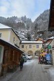 Hallstatt, Österreich Schnee auf Tannenbaumzweigen stockfotografie
