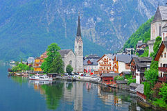 Hallstatt, Austria. The most favorite view of Hallstatt, Austria Stock Images