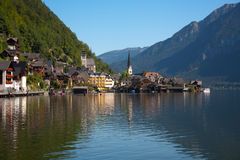Hallstatt Austria. Beautiful lake view of Hallstatt Austria.  Reflection of villiage on lake Stock Image