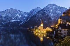 Hallstatt in Austria. In the evening Stock Images