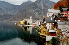 Hallstatt, Austria. Famous view of the village Royalty Free Stock Images