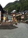Hallstatt Austria gathering spot. Town square of Hallstatt Austria Royalty Free Stock Photo