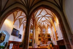 Church interior in Hallstatt near Salzburg in Austria. Hallstatt, Austria - January 30, 2019: Church interior in Hallstatt near Salzburg in Austria, Europe in stock images