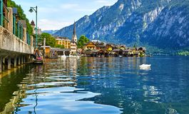 Hallstatt Austria lake Hallstattersee with quiet blue Royalty Free Stock Images