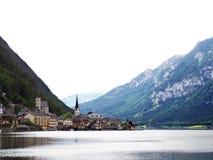 Hallstatt Austria landmark church view with lake and mountain su Royalty Free Stock Photo