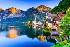 Hallstatt, Austria. Mountain village in the Austrian Alps Royalty Free Stock Image