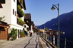 Hallstatt, Austria, October 14, 2018: The beautiful Hallstatt village on the coast of Hallstatt lake. royalty free stock photography