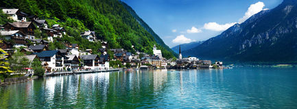 Beauty of Austria. A small village on the lake in austria Royalty Free Stock Photos