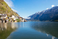 Hallstatt, Austria. Hallstatt is a town in Salzkammergut region in Austria, with beautiful mountain/lake view Royalty Free Stock Image