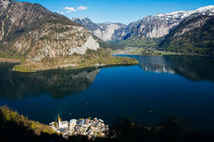 Hallstatt, Austria. Hallstatt is a town in Salzkammergut region in Austria, with beautiful mountain/lake view Stock Images