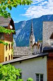 Hallstatt Austria traditional houses and old roofs Royalty Free Stock Photography