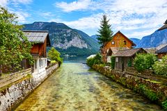 Hallstatt Austria tradycyjni drewniani austriaccy domy Obrazy Stock