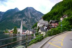 Hallstatt Austria / village. Romantic town in Stock Photo