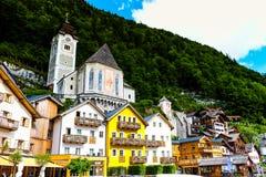 Hallstatt Austria / village. Romantic town in Stock Photos