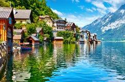 Hallstatt Austria widok Hallstattersee jezioro Zdjęcia Stock