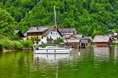 Hallstatt Austria widok Hallstattersee jezioro Obraz Royalty Free