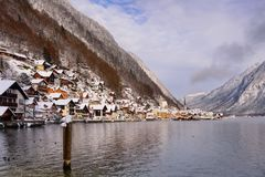Hallstatt Christmas village of Austria. Hallstatt Christmas village. Scenic postcard view of famous Hallstatt lakeside town in the Austrian Alps reflecting in Royalty Free Stock Photography