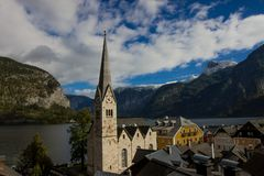 Hallstatt church in spring stock image