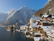 Hallstatt in de winter Stock Fotografie