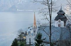 Hallstatt ed il lago Hallstater vedono l'austria Fotografia Stock