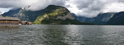Hallstatt and Hallstater see lake panorama Stock Photography