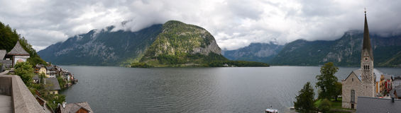 Hallstatt and Hallstater see lake panorama Royalty Free Stock Photos