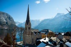 Hallstatt, het beroemde bergdorp in de Oostenrijkse Alp royalty-vrije stock foto