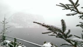 Hallstatt i snösikten, Österrike Royaltyfria Foton