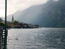 Hallstatt krajobraz, Salzburg Halny jezioro, Alpejski masyw, piękny jar w Austria zdjęcia royalty free