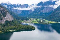 Hallstatt Lake,Austria. Upper Austria ,district Gmunden village in the Salzkammergut royalty free stock images