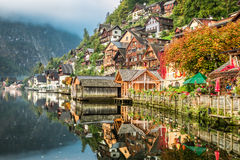 Hallstatt on the lake in autumn Royalty Free Stock Photos