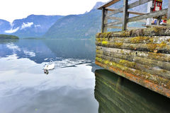 Hallstatt Lake on a Gloomy Day Stock Photos