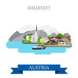 Hallstatt Lake Salzkammergut Austria flat vector attraction Stock Photography