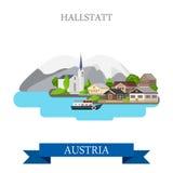 Hallstatt Lake Salzkammergut Austria flat vector attraction. Hallstatt Lake in Salzkammergut Upper Austria. Flat cartoon style historic sight showplace Stock Photography