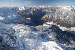 Hallstatt lake surrounded by mountains Stock Photo