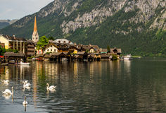 Hallstatt.Lake, swans and church. Stock Photo